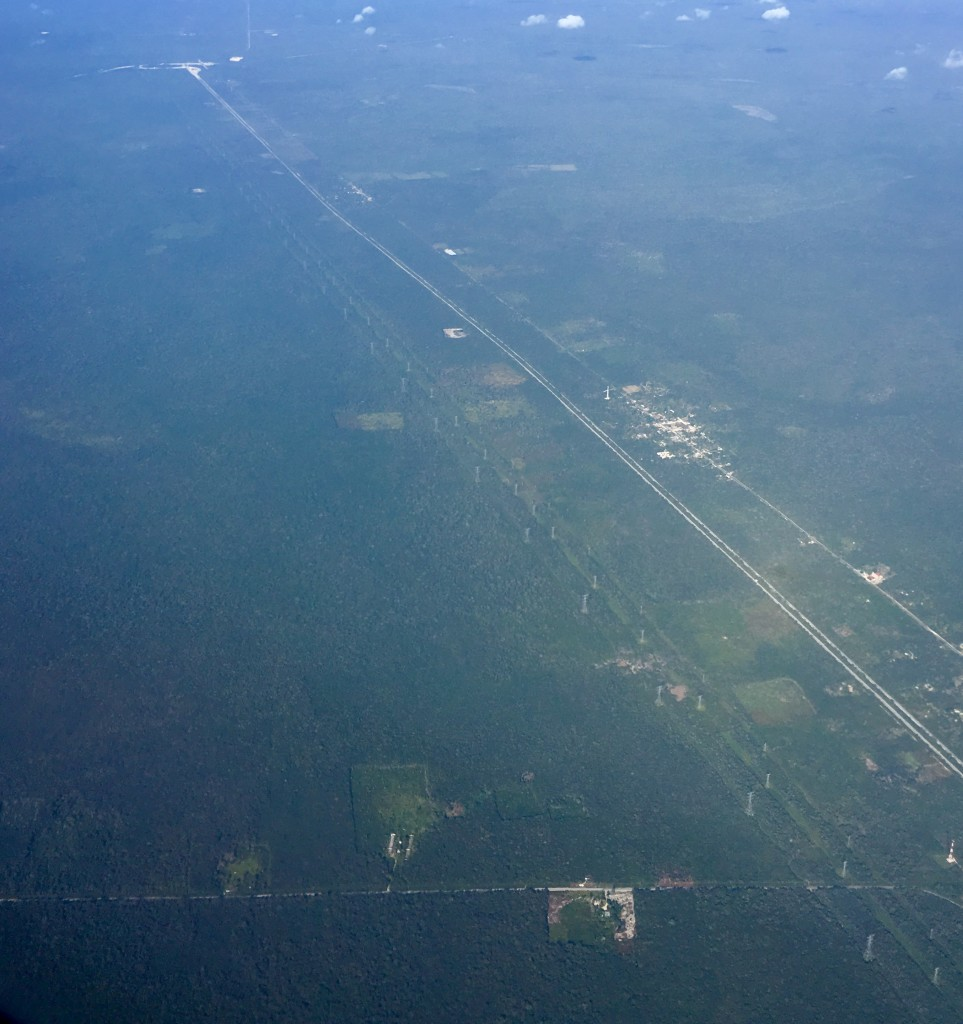 The Cancun-Merida 180 Highway from the air.