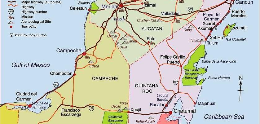 Map of Yucatan Mexico
