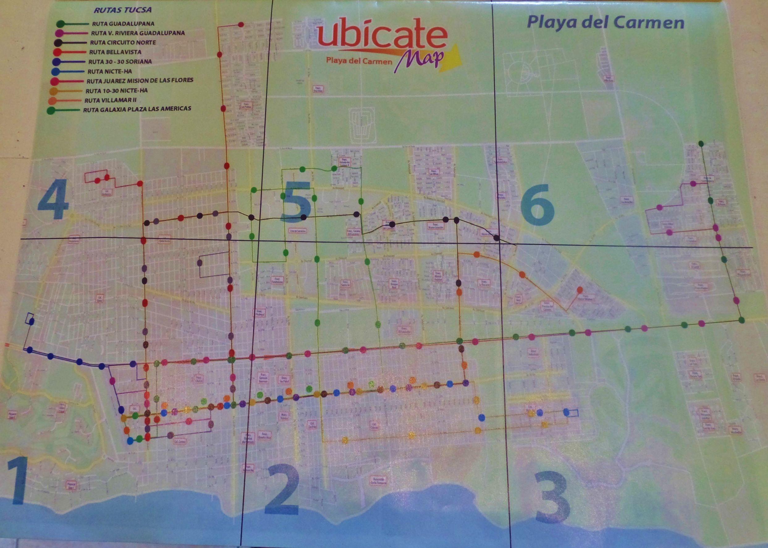 Public Bus Map For Playa Del Carmen