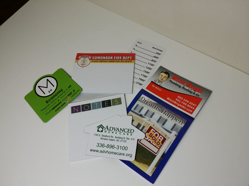 Business card magnets - great for in home advertising