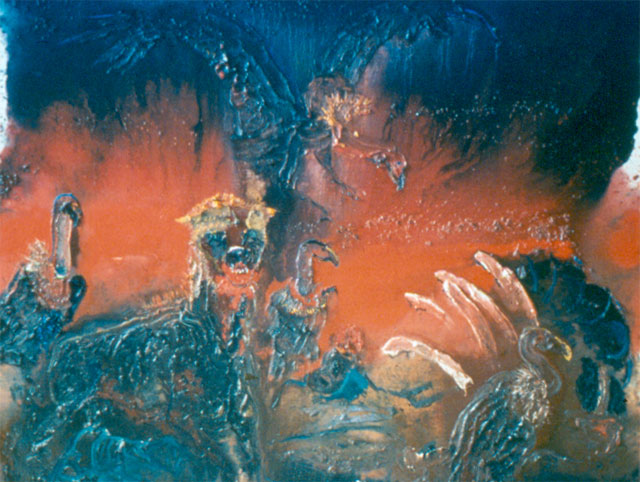 """Guarding the Kill"" Oil on canvas, 1985 50 x 64 inches"