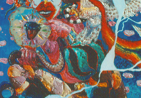 """Montana Crown of Snakes"" Oil on canvas, 1978 50 x 40 inches"