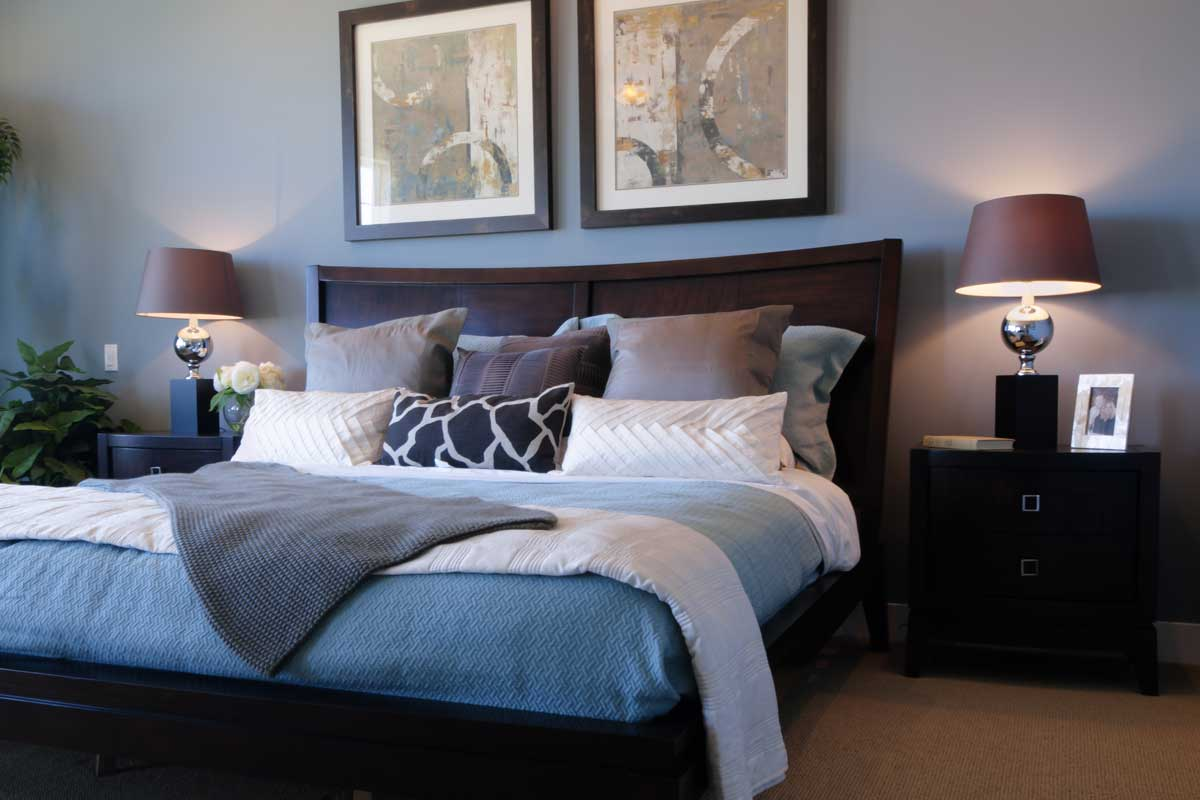 Residential home master bedroom interior painted gray & white