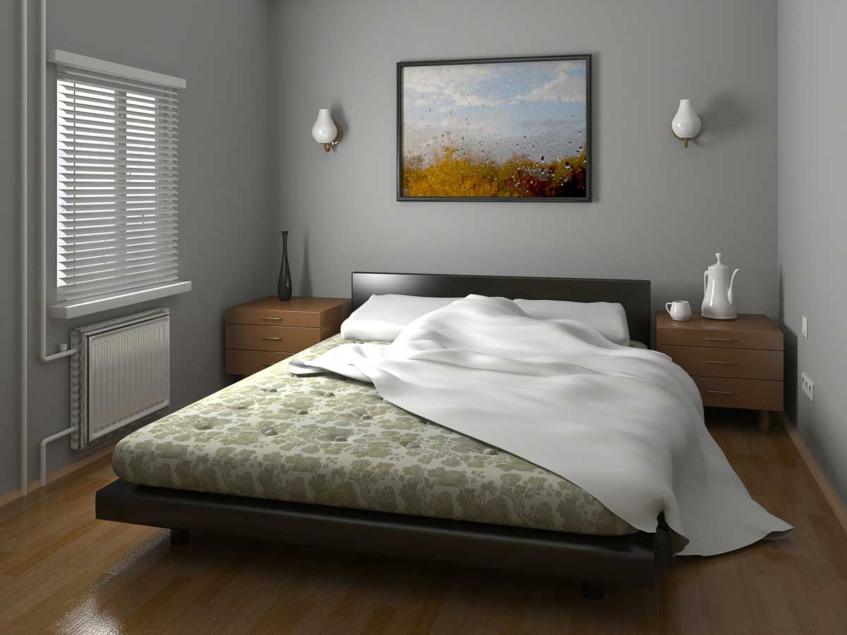 Residential home bedroom interior painted gray & white