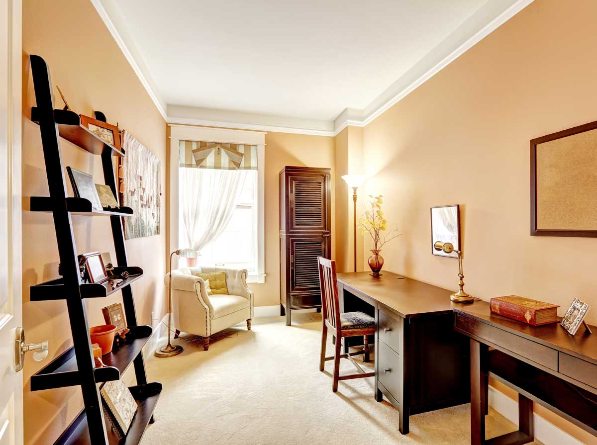 Residential home office interior painted beige & white