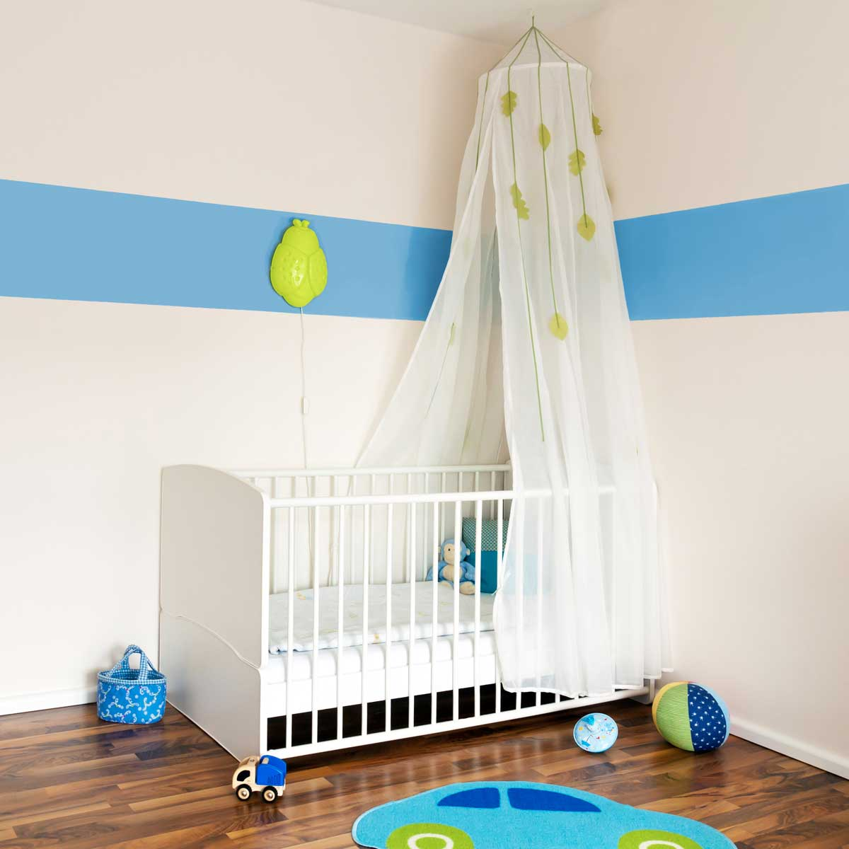 Residential home baby's room interior painted white & light blue