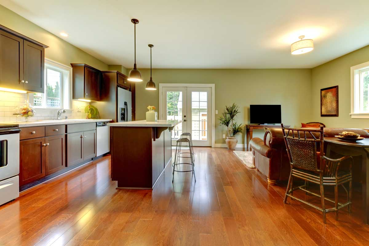 Residential home kitchen interior painted white & avocado green