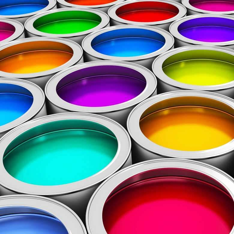 Residential and Commercial Painting - Brightly colored paint in paint cans