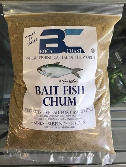 Chum bag for bait fish cast netting