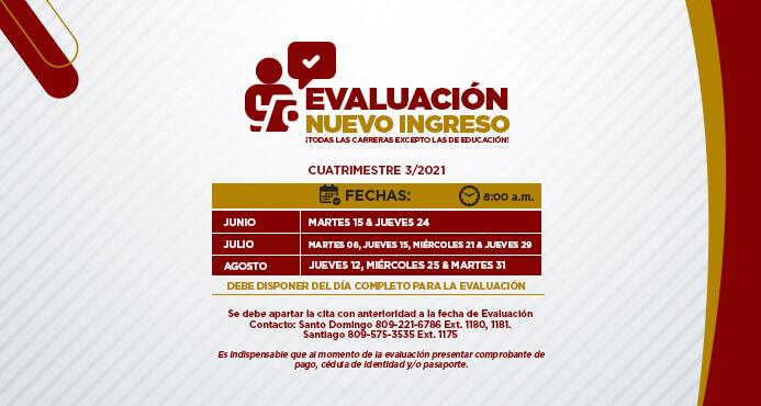 evaluación nuevo ingreso cuatrimestre 3-2021 Santo Domingo