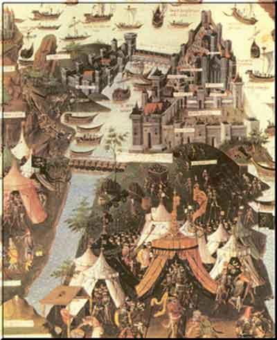 Η πολιορκία της Κωνσταντινούπολης το 1453 από γαλλική μινιατούρα της Βιβλιοθήκης του Παρισιού
