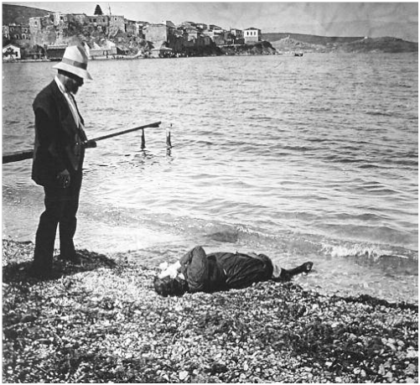 French archeologist watching a women who has drowned