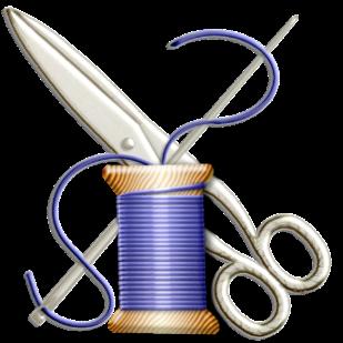 needle, thread and scissors clip art