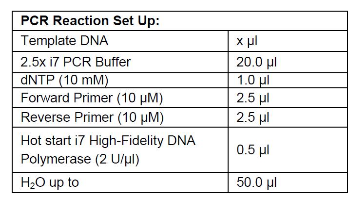Hot Start i7 PCR Set up