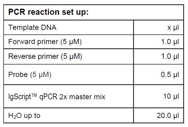 PCR Reaction Set Up qPCR Probe based master mix