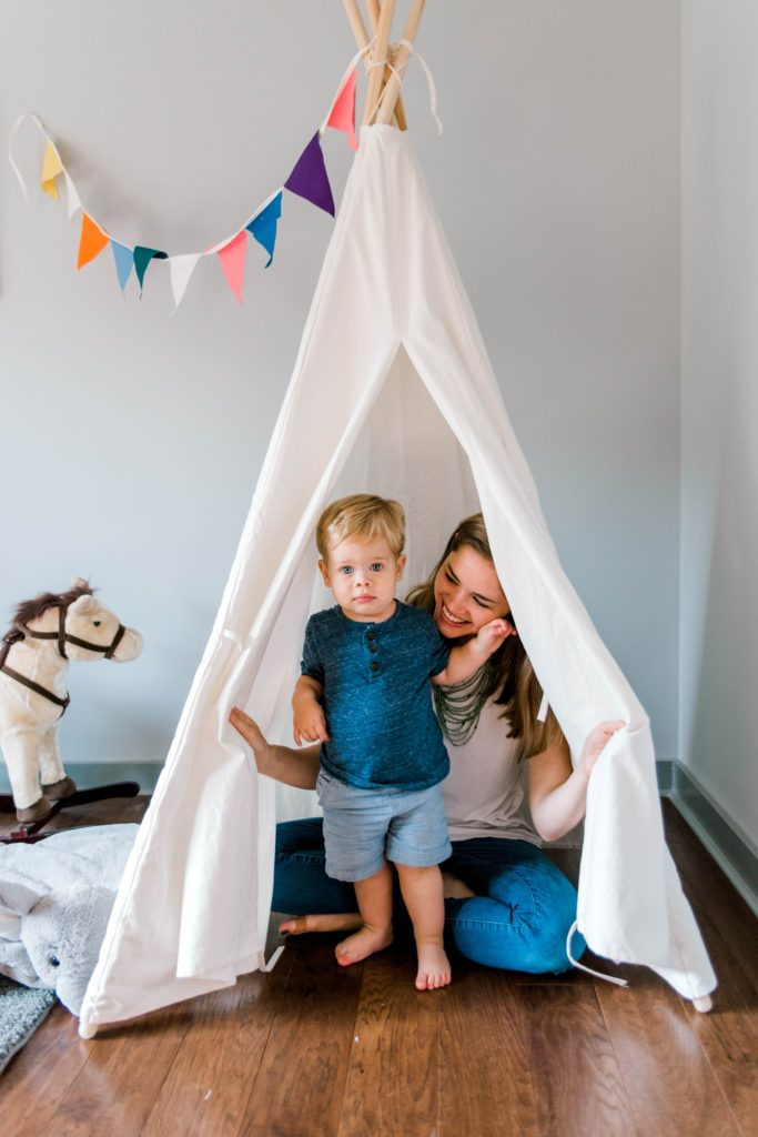 mom and son in tent