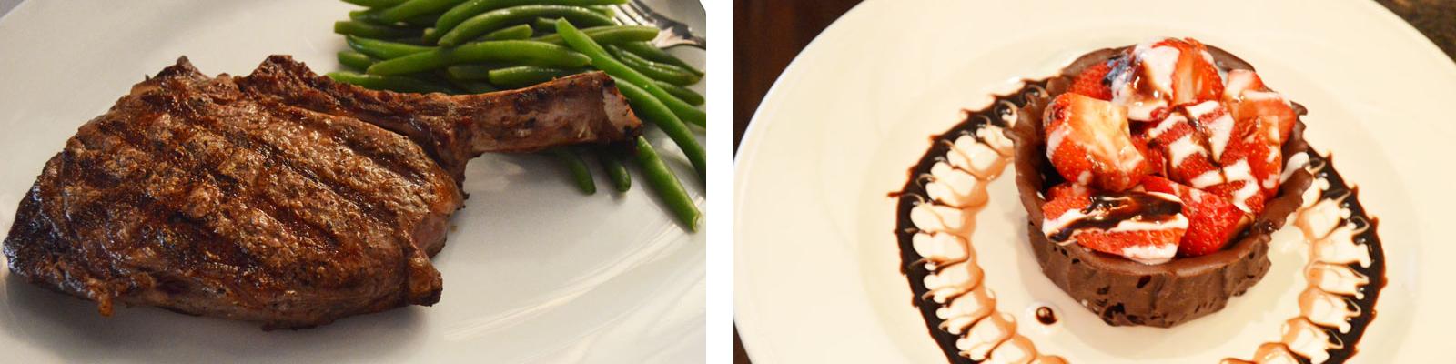steak and dessert