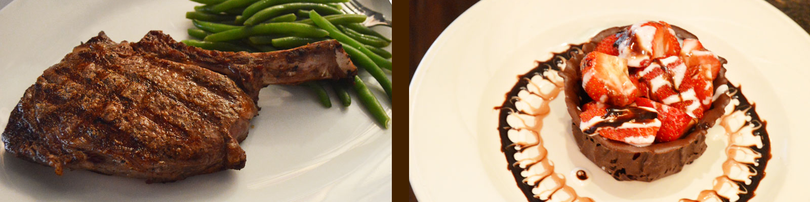 steak and chcolate dessert