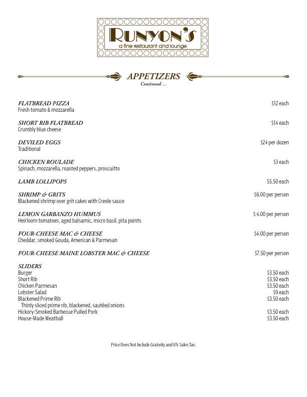 catering appetizers menu