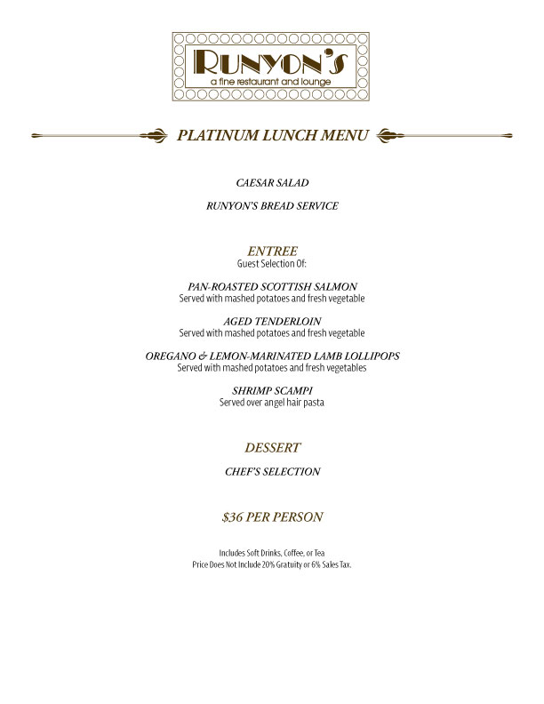 platinum lunch menu