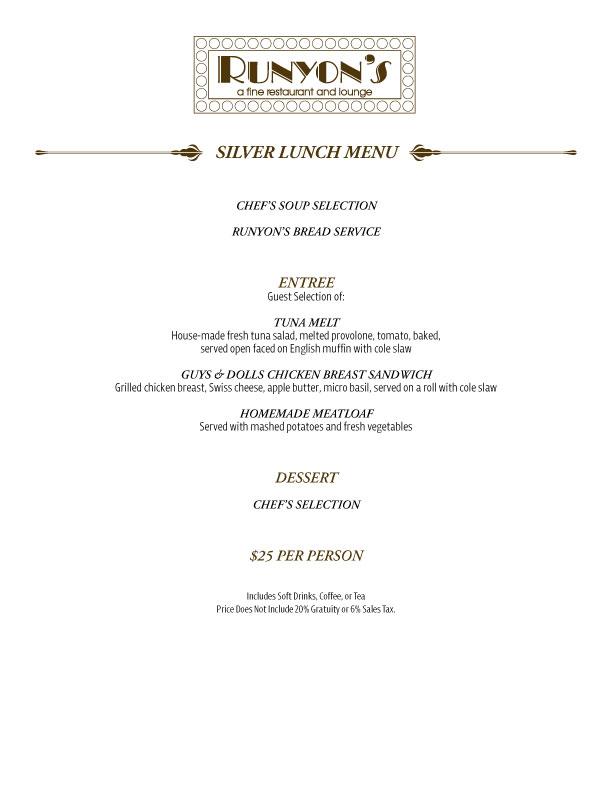 silver lunch menu