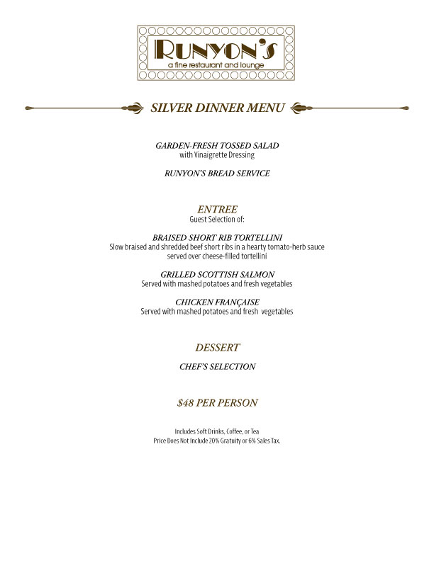 silver dinner menu