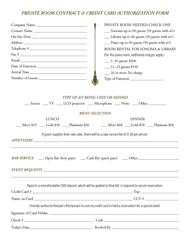 catering form
