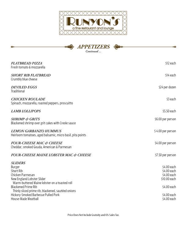 apperizer catering menu