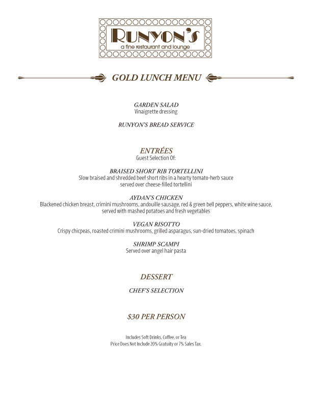 catering gold lunch menu