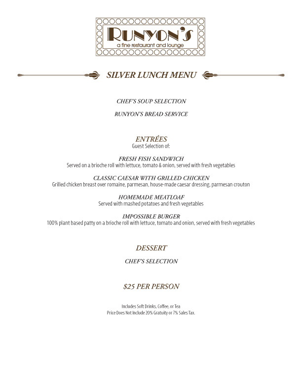 catering silver lunch menu