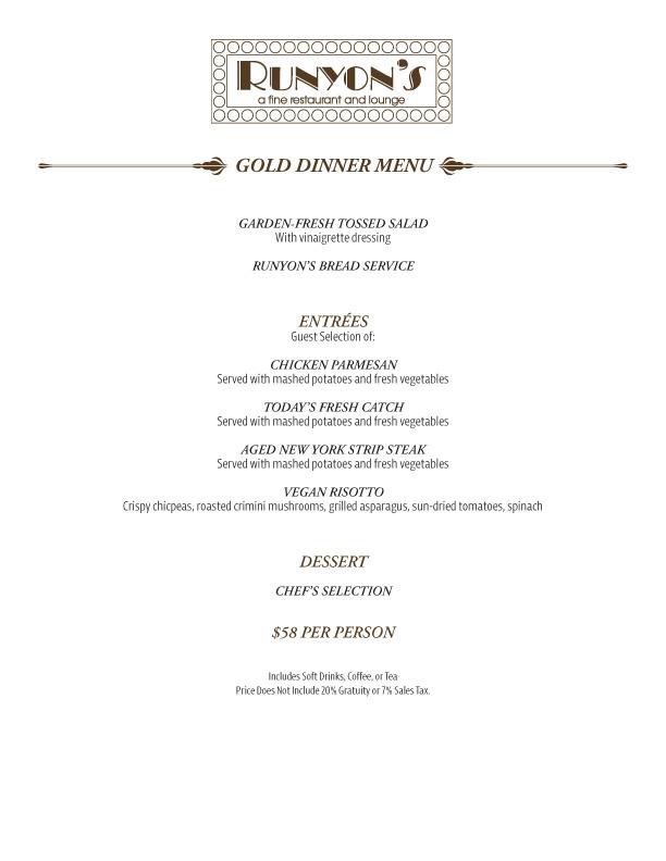 catering gold dinner menu