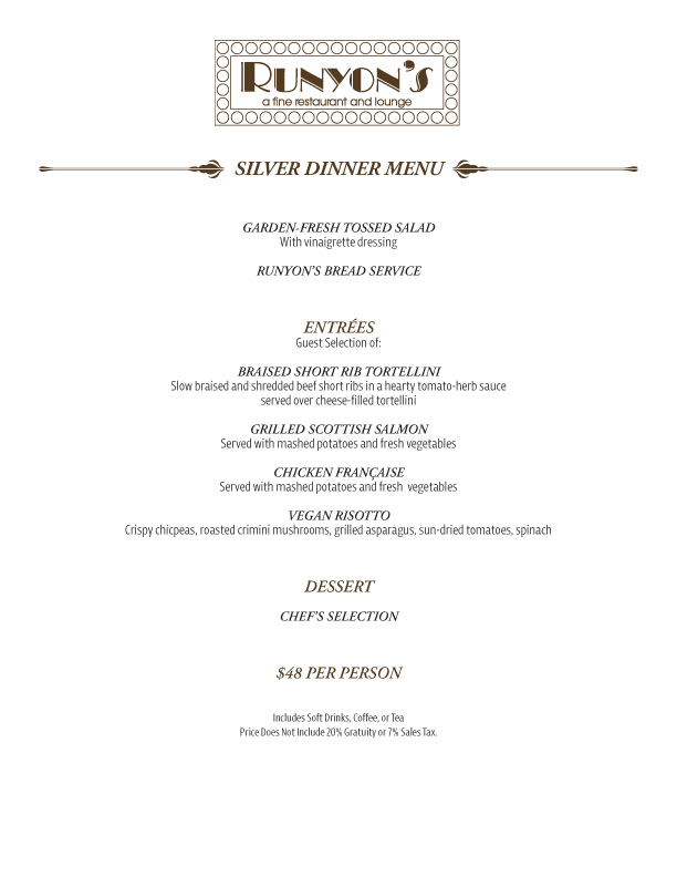catering silver dinner menu