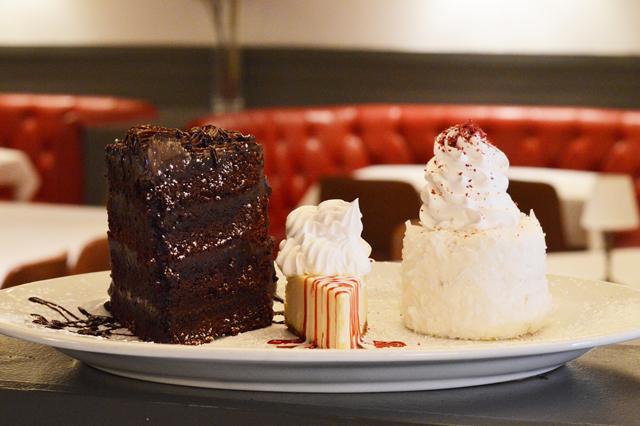 mile high chocolate cake, cheesecake, coconut bombe