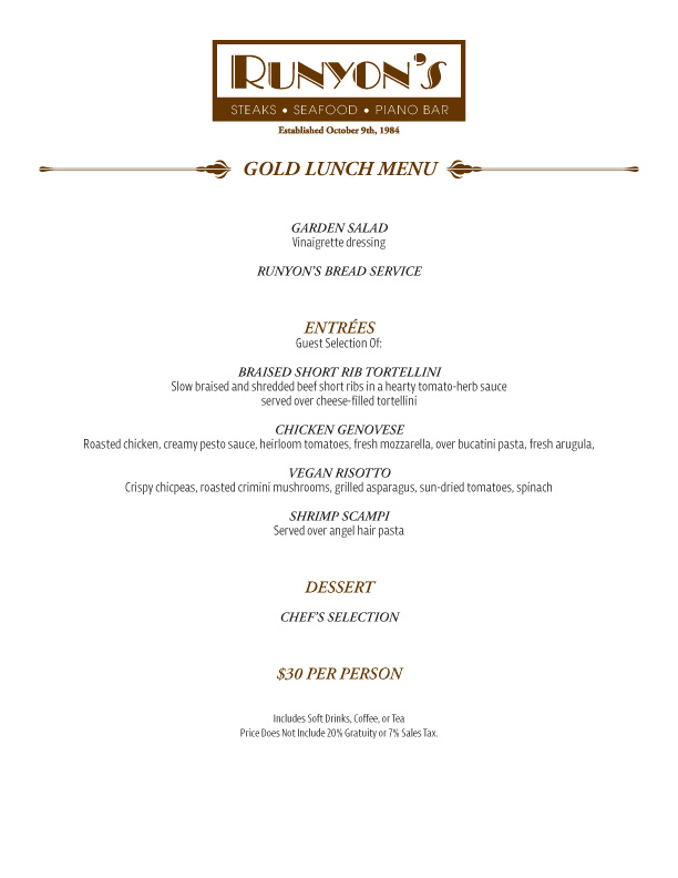events gold lunch menu