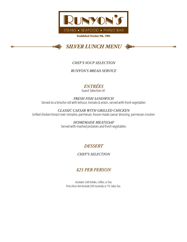 events silver lunch menu