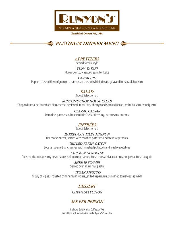 events platinum dinner menu