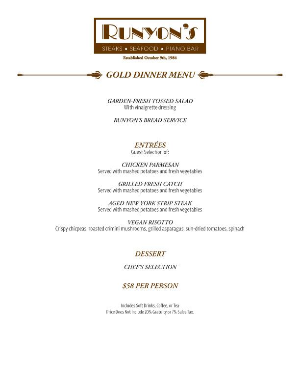 events gold dinner menu