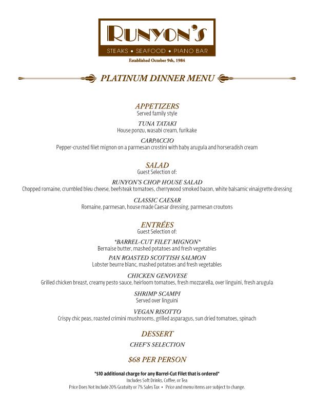 Platinum Dinner