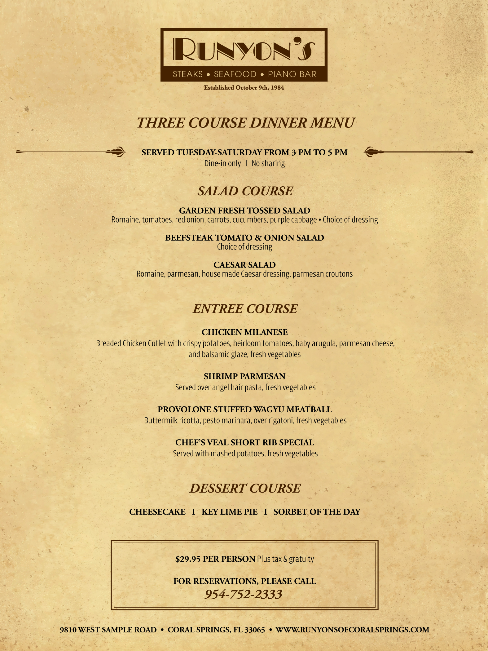 3-course dinner