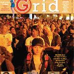 Cover of Grid Magazine with large crown facing camera