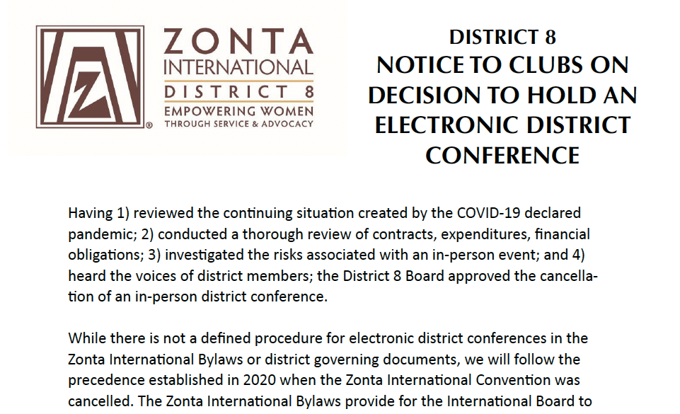 Notice to Clubs of Electronic district conference