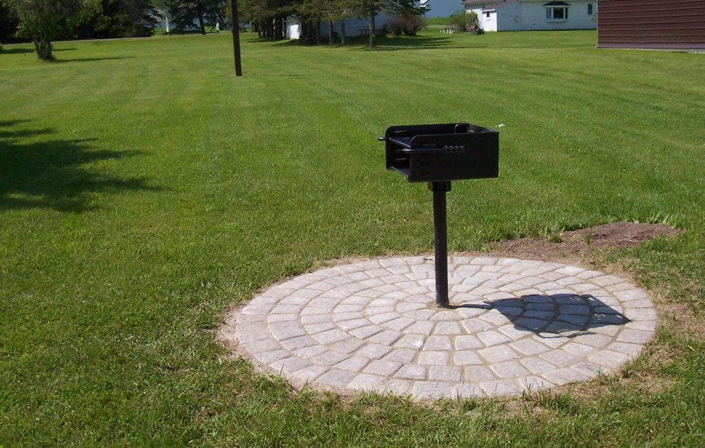 One of two new grills with pavers purchased and installed by the Herbster Community Club