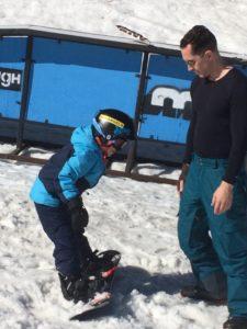 Blue Angel Snow Teaches Kids to Snowboard