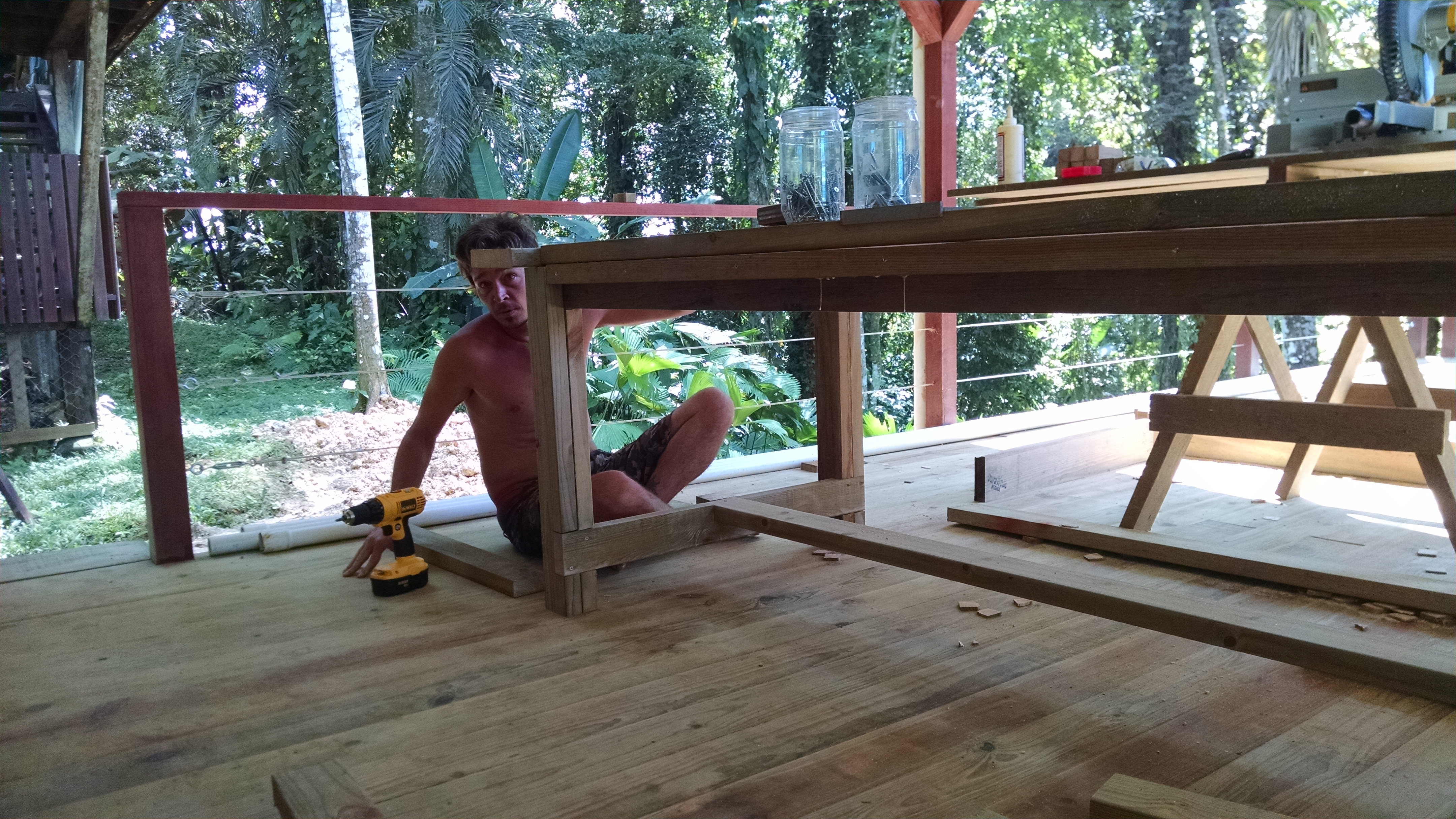 Photo of David working on a table