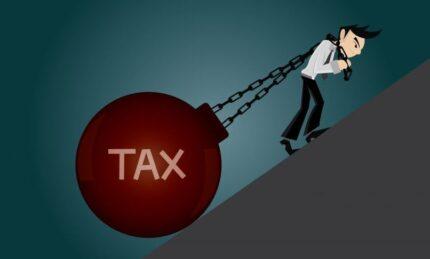 Cartoon Of Man Pulling Tax Uphill