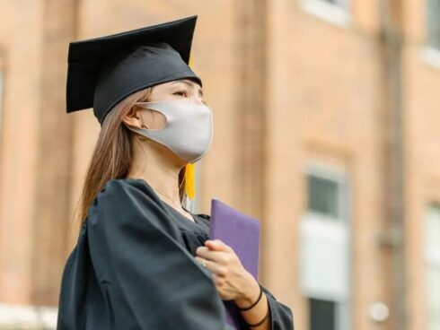 College Graduate Wearing Face Mask