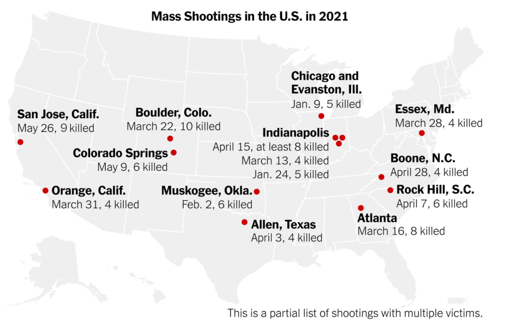 Map Of Mass Shootings In 2021