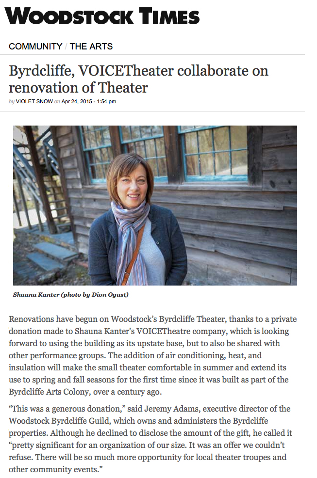 Voice Theatre article in the  Woodstock Times, April 2015