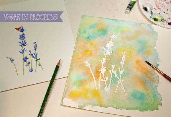 Work in Progress: Lavender with background wash