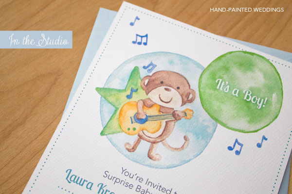 In the Studio: Hand-Painted Baby Shower Invitation